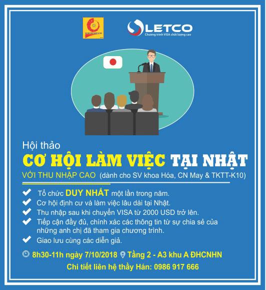 """Hôi thảo """"Cơ hội làm việc tại Nhật Bản"""" dành cho SV Khoa CN Hóa và CN May & TKTT"""