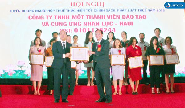 Công ty LETCO được tuyên dương, khen thưởng thực hiện tốt nghĩa vụ nộp thuế