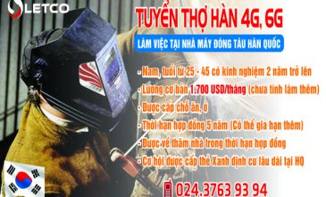 Tuyển thợ hàn 4G, 6G làm việc tại Hàn Quốc Visa E7